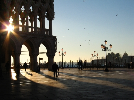Doge Palace in Venice and early sunrise photo
