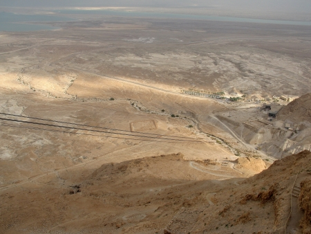 Ruined walls of Masada in the South District of Israel  photo