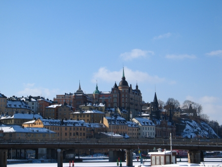 View of Stockholm in winter time, capital of Sweden