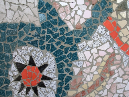 hand made Mosaic from colorful tiles photo