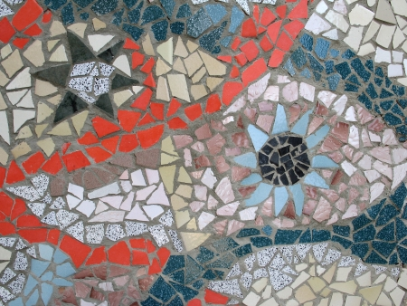 pastiche: hand made Mosaic from colorful tiles
