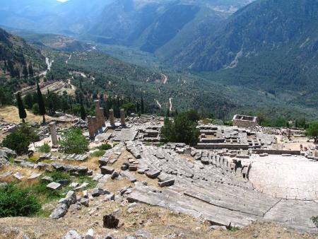 delfi: Theatre in temple of Delphi in Greece Stock Photo