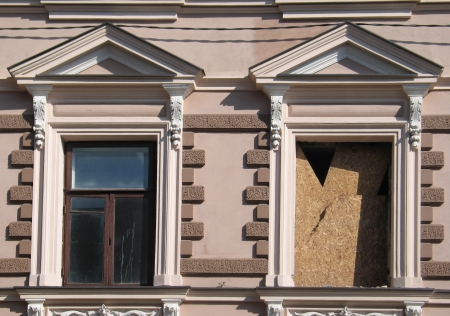 classicism: Old classicism style windows under reconstruction in old town of Vilnius, Lithuania