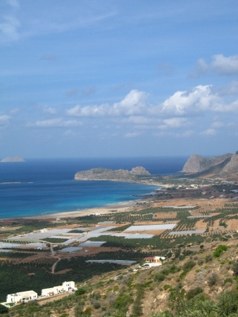 View of empty Falasarna beach from mountain. One of the most beautiful stretched sandy beaches in western Crete. photo