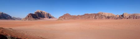 Panoramic view of Wadi Rum Desert Mountains in Jordan