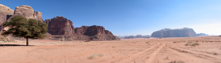 Panoramic view of Wadi Rum Desert Mountains in Jordan. single tree and road photo