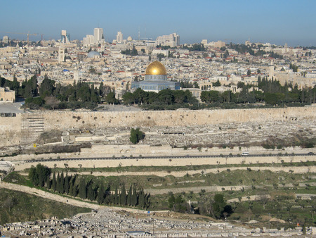 View of Jerusalem from mountain of Olives, (Israel) photo