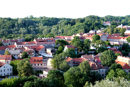 Aerial view of city of Vilnius (Lithuania) old town, with buildings Stock Photo