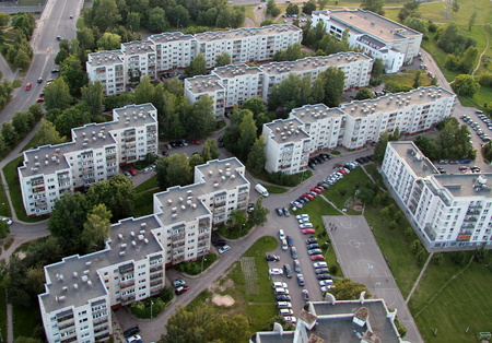 Aerial view from hot air balloon of old soviet time suburbs in Vilnius, Lithuania