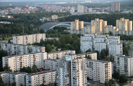 prefabricate: Aerial view from hot air balloon of old soviet time suburbs in Vilnius, Lithuania