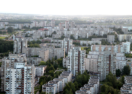 beton: Aerial view from hot air balloon of old soviet time suburbs in Vilnius, Lithuania