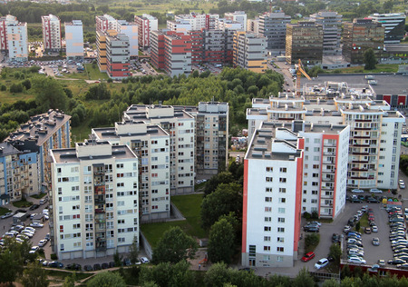Aerial view from hot air balloon of suburbs in Vilnius, Lithuania