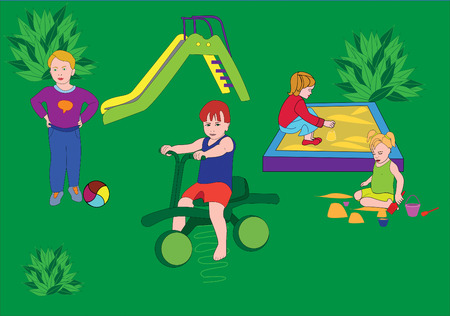 children play a childrens playground in games, in the summer,goes for a drive,children; boy; girl,hill; bicycle; ball; sandbox; sand; rake; summer  Vector