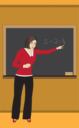 teaches:  teacher, teacher, woman, teacher, teaches, learns, knowledge, board, school, class,specifies;lesson; study; picture; formation;illustrations,vector,vertical,art,artistic