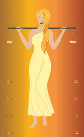 the beautiful girl with long hair in a long dress, costs and on shoulders holds scales Vector
