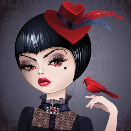 muneca vintage: retrato de mujer sofisticada joven con el pelo corto y negro en el sombrero rojo con plumas de ave sosteniendo rojo cardenal