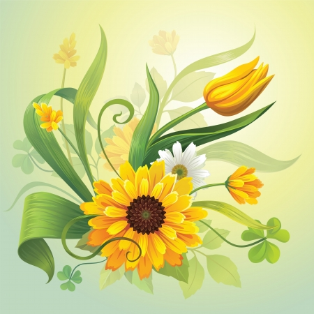 realistic detailed botanical of beautiful yellow field flowers, grass and green leaves