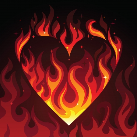 red love heart with flames: coraz�n ardiente