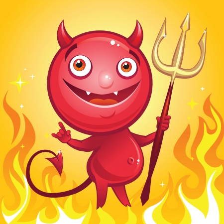 funny cute cartoon character devil smiling Vector