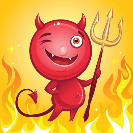 funny devil cartoon character Vector