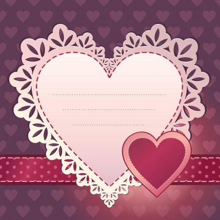 pink heart scrapbook template background Stock Vector - 15737095