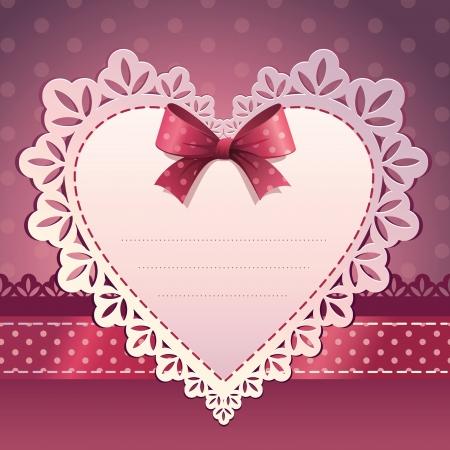 veters: roze hart plakboek template achtergrond Stock Illustratie
