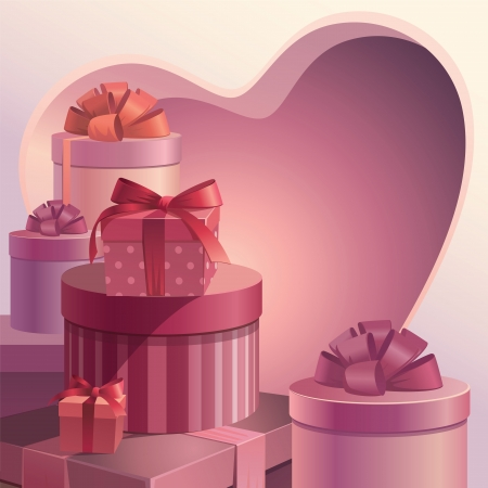 red gift box: valentine gifts heart template