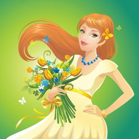 rothaarige Mädchen mit Blumen
