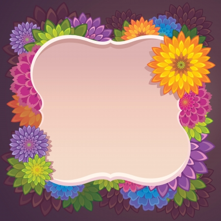 color flowers frame border Stock Vector - 15756102