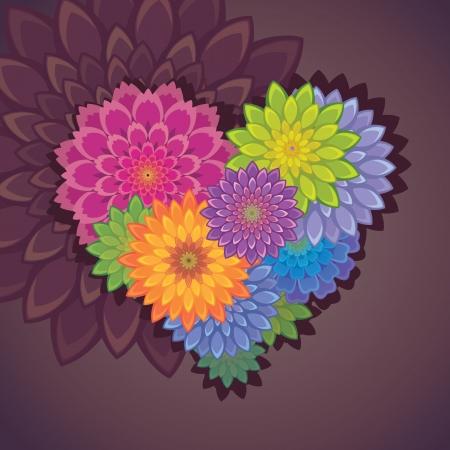 flower clip art: flower heart Illustration