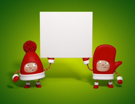 Christmas characters holding banner Stock Photo - 15756105