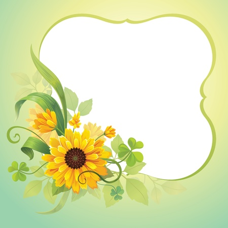 flower frame template Illustration