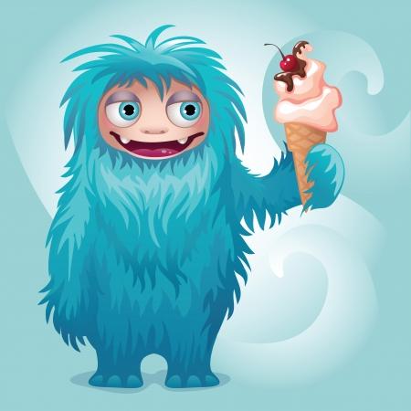 monster yeti character ice cream Vector
