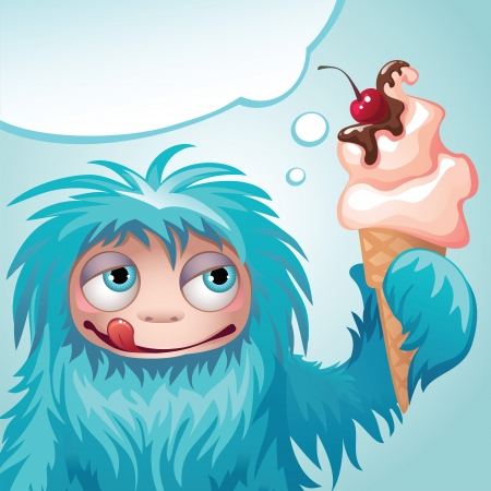 creature of fantasy: monster yeti eating ice cream