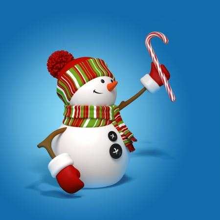 lapland: snowman holding candy cane