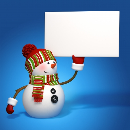 snowman isolated: snowman holding message banner