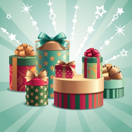 Christmas gifts pile Vector