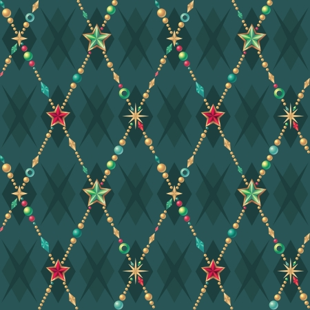 ball and chain: seamless Christmas pattern Illustration