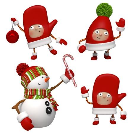 dwarves: christmas snowman objects set
