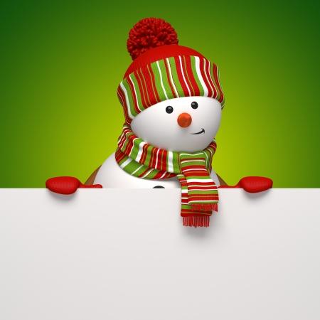 christmas frame: snowman banner Stock Photo