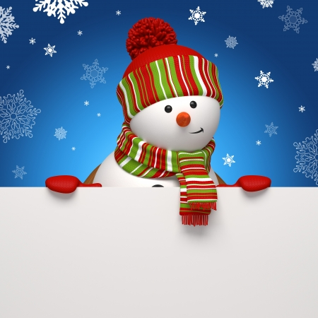 snowman 3d: snowman banner blue Stock Photo