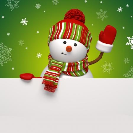 snowman 3d: snowman banner green