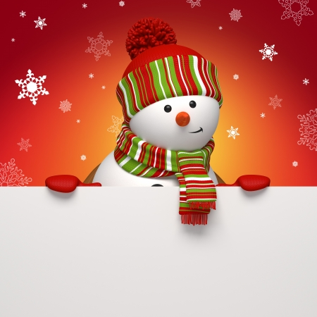 snowman holding banner red Stock Photo - 15992191