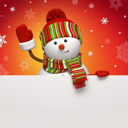 christmas tag: snowman holding banner