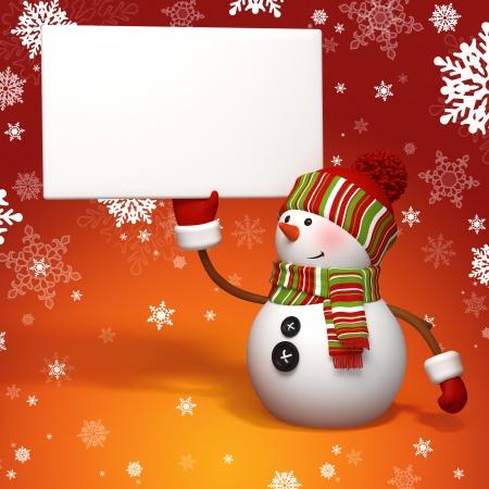 snowman holding banner Stock Photo - 15992193