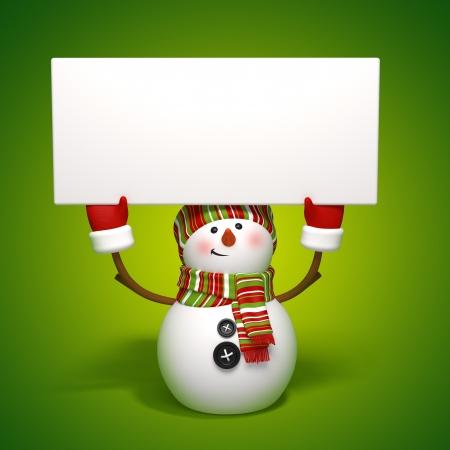 snowman holding banner Stock Photo - 15992195