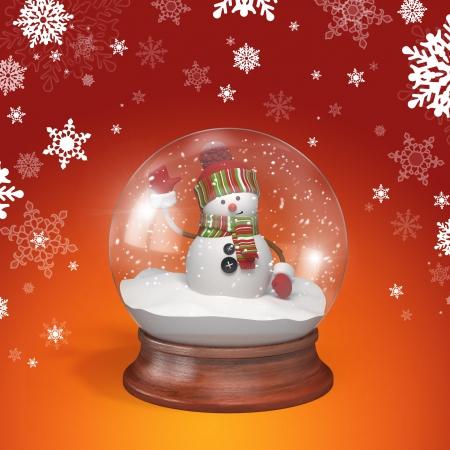 snow crystal: Snowman inside glass ball