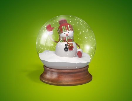 christmastide: Snowman inside glass ball