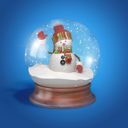 snowman isolated: Snowman inside glass ball