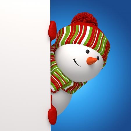 snowman 3d: snowman banner Stock Photo